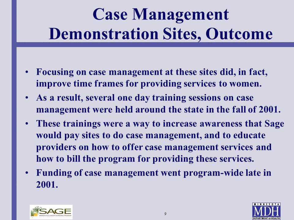 Case Management Demonstration Sites, Outcome