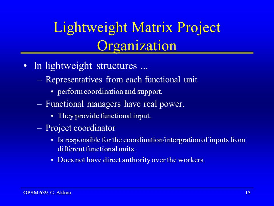 Lightweight Matrix Project Organization