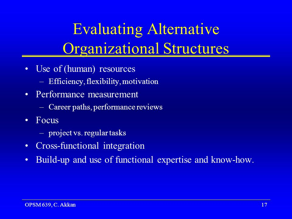 Evaluating Alternative Organizational Structures