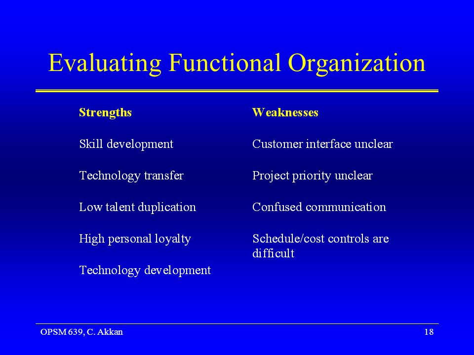 Evaluating Functional Organization