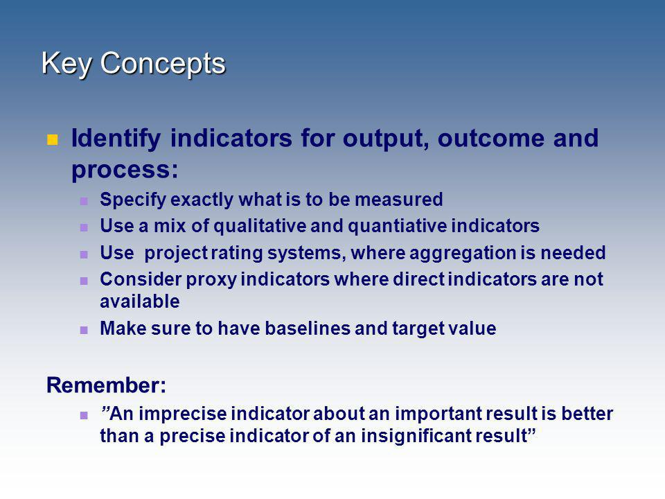 Key Concepts Identify indicators for output, outcome and process: