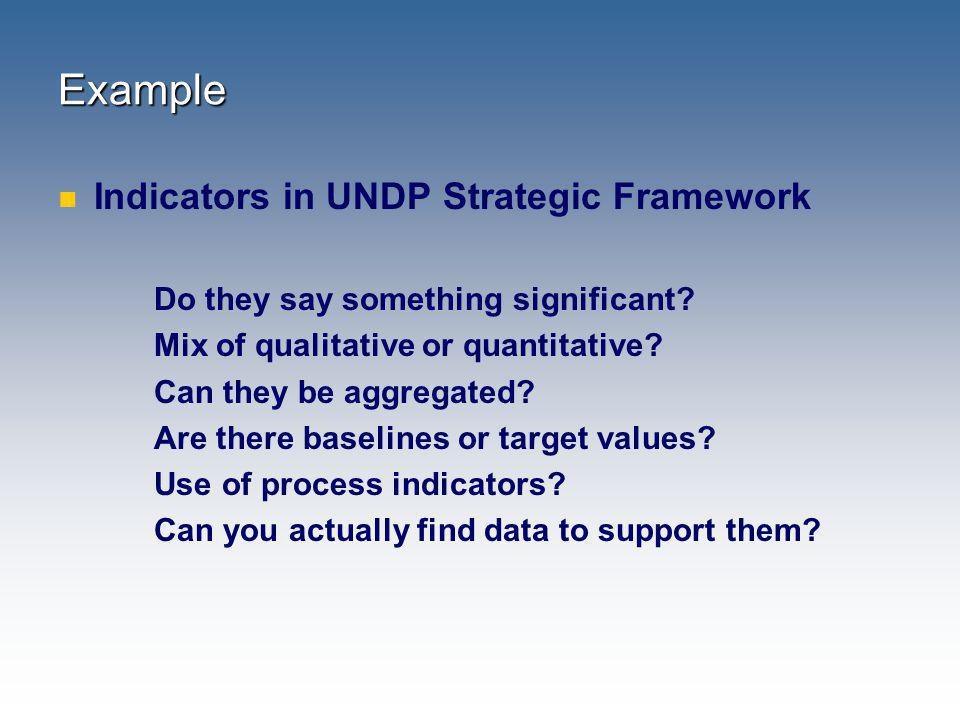 Example Indicators in UNDP Strategic Framework