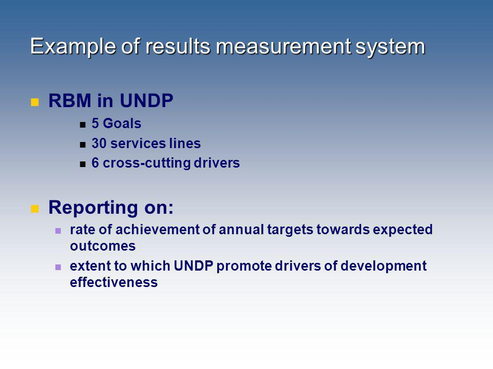Example of results measurement system