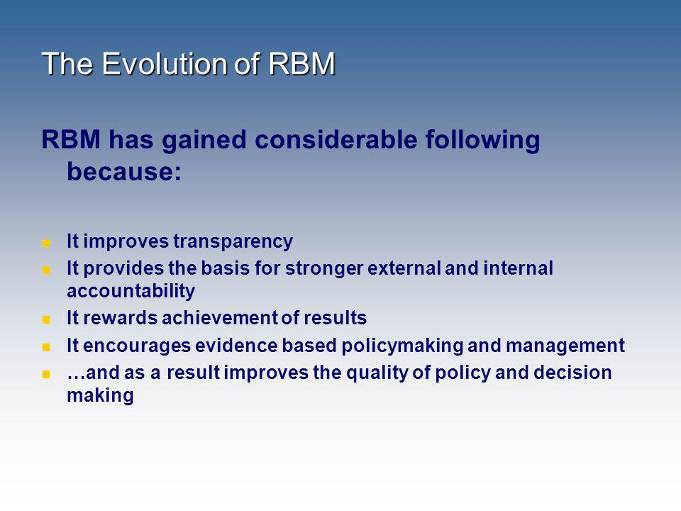 The Evolution of RBM RBM has gained considerable following because: