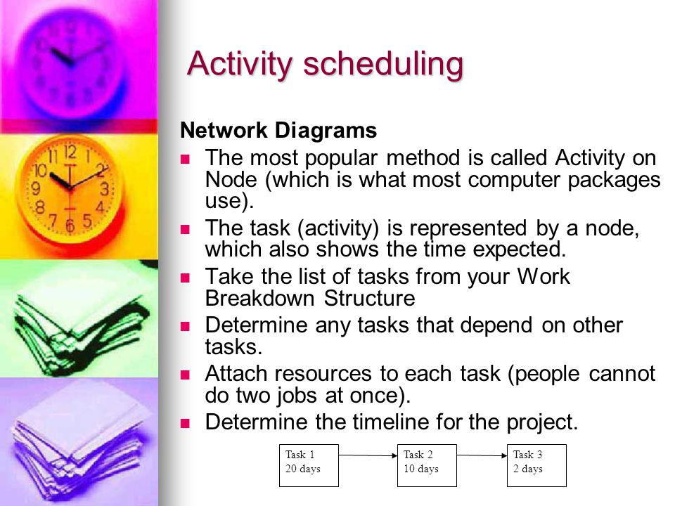 Activity scheduling Network Diagrams