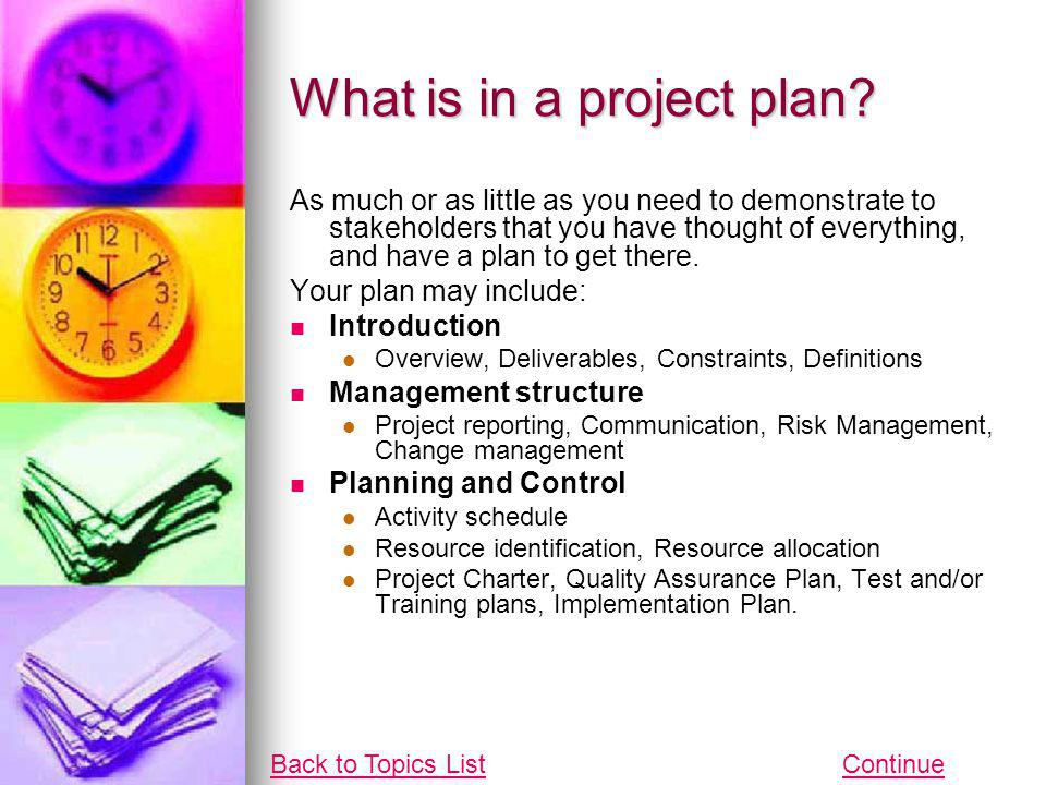 What is in a project plan