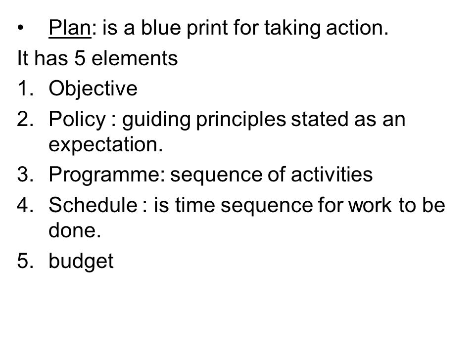Plan: is a blue print for taking action.