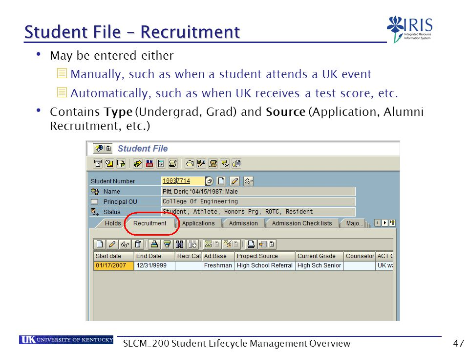 Student File – Recruitment