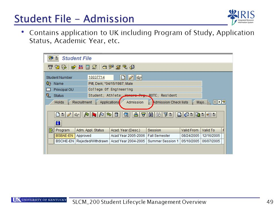 Student File - Admission