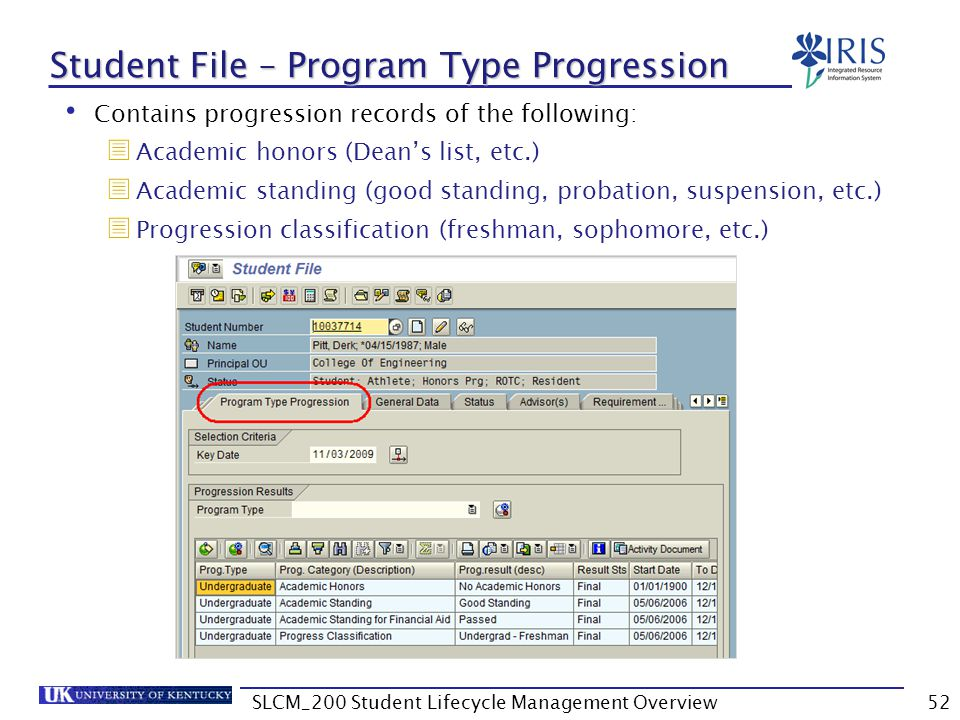 Student File – Program Type Progression