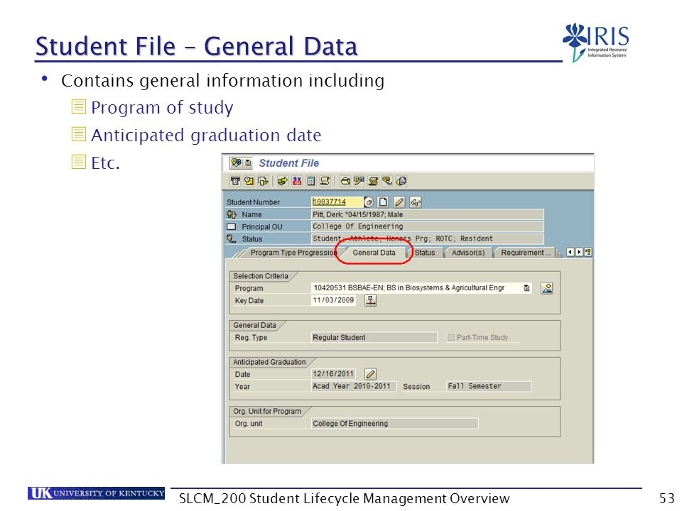 Student File – General Data