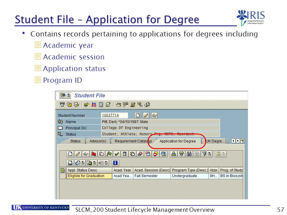 Student File – Application for Degree