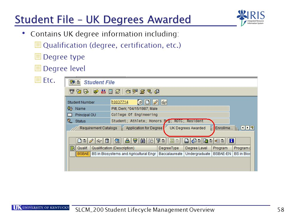 Student File – UK Degrees Awarded
