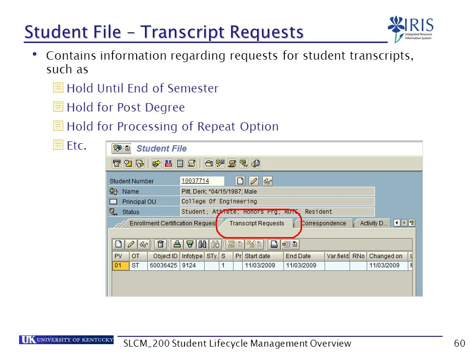 Student File – Transcript Requests