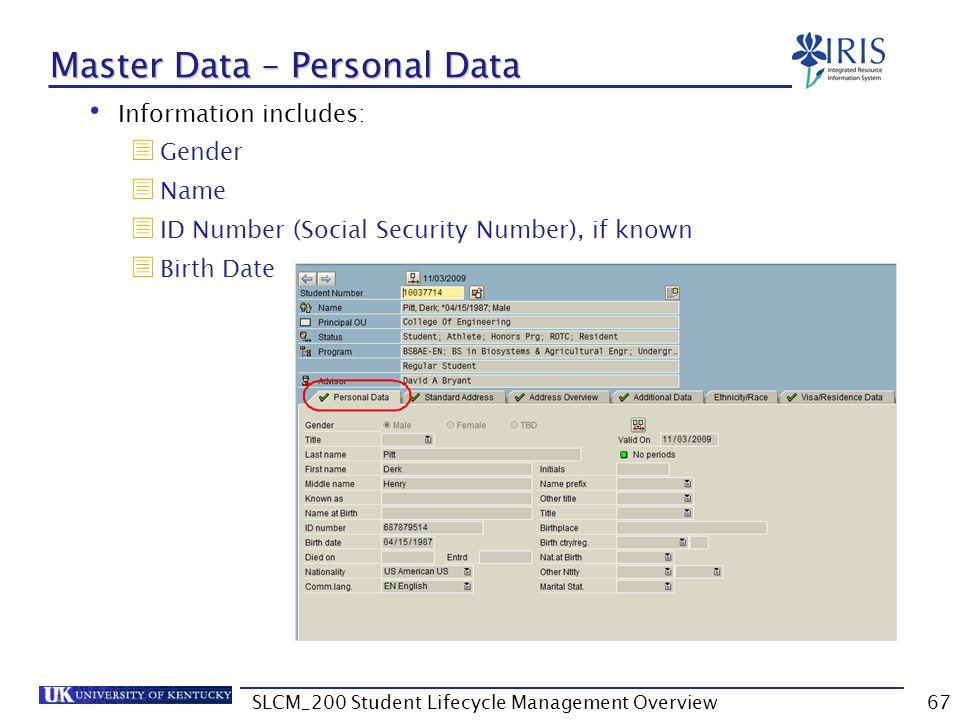 Master Data – Personal Data