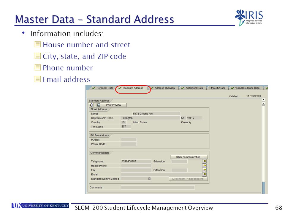 Master Data – Standard Address