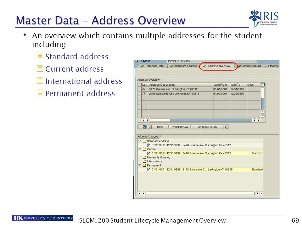 Master Data – Address Overview