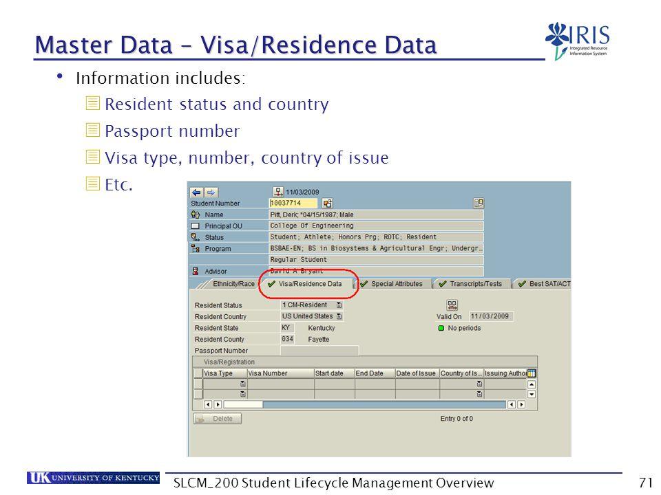 Master Data – Visa/Residence Data