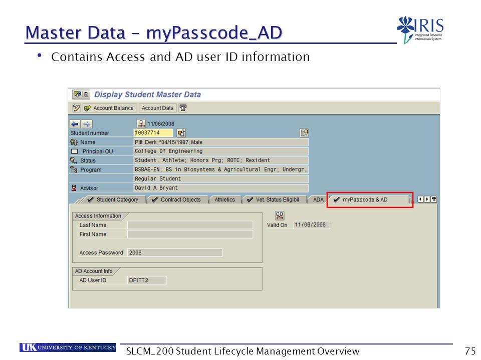 Master Data – myPasscode_AD