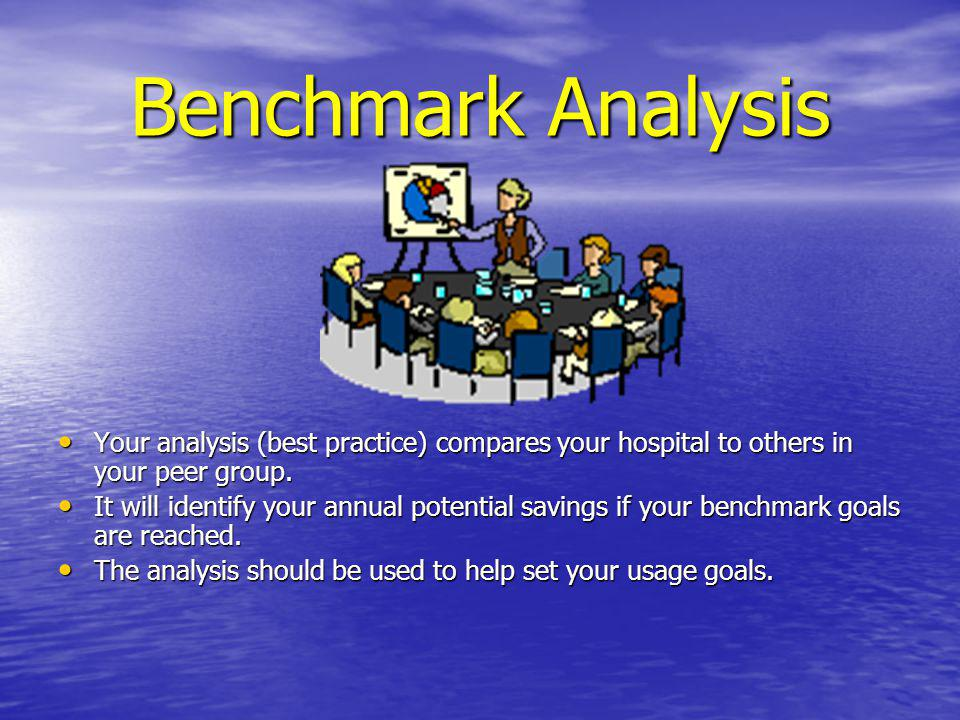 Benchmark Analysis Your analysis (best practice) compares your hospital to others in your peer group.