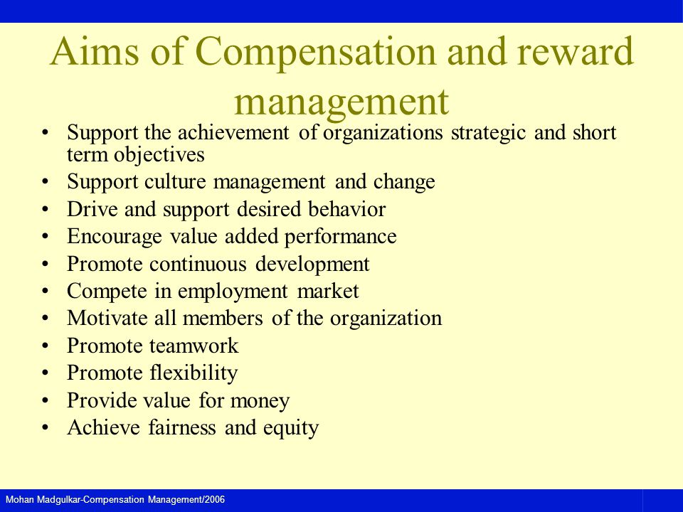 Aims of Compensation and reward management