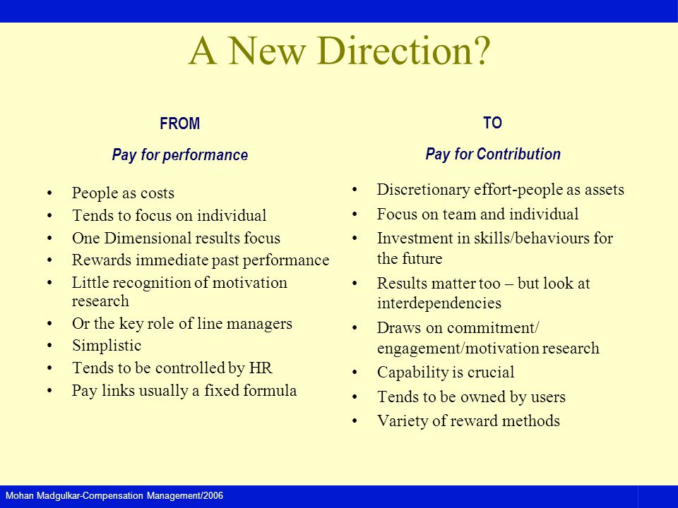 A New Direction FROM Pay for performance TO Pay for Contribution