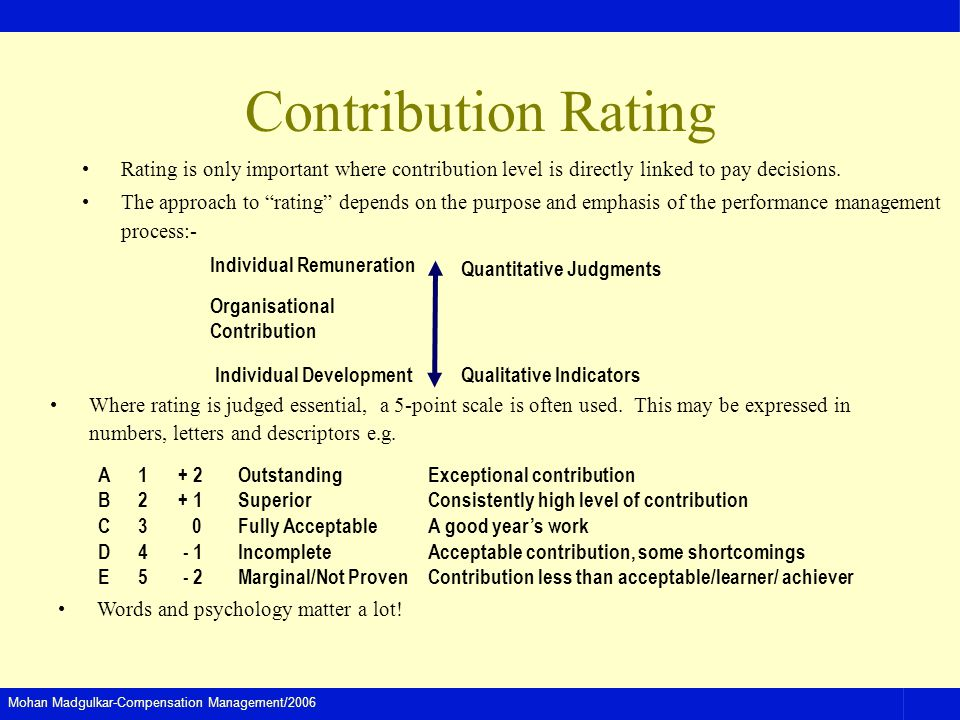 Contribution Rating Rating is only important where contribution level is directly linked to pay decisions.