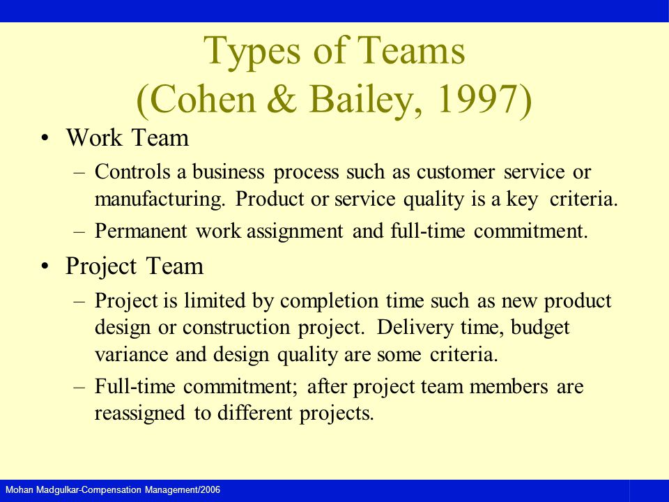 Types of Teams (Cohen & Bailey, 1997)