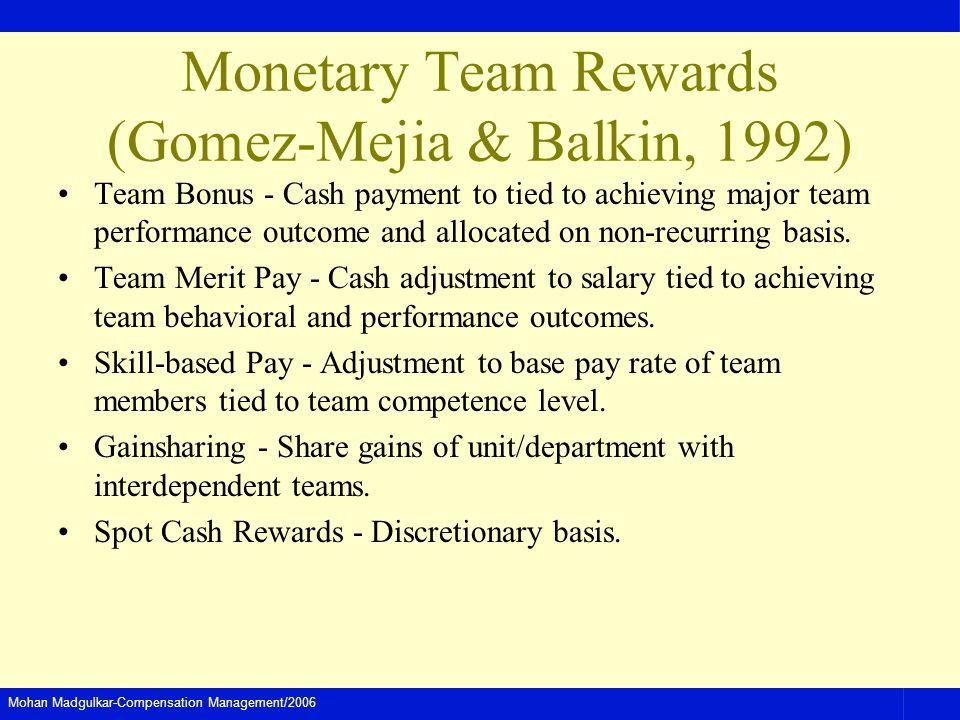 Monetary Team Rewards (Gomez-Mejia & Balkin, 1992)
