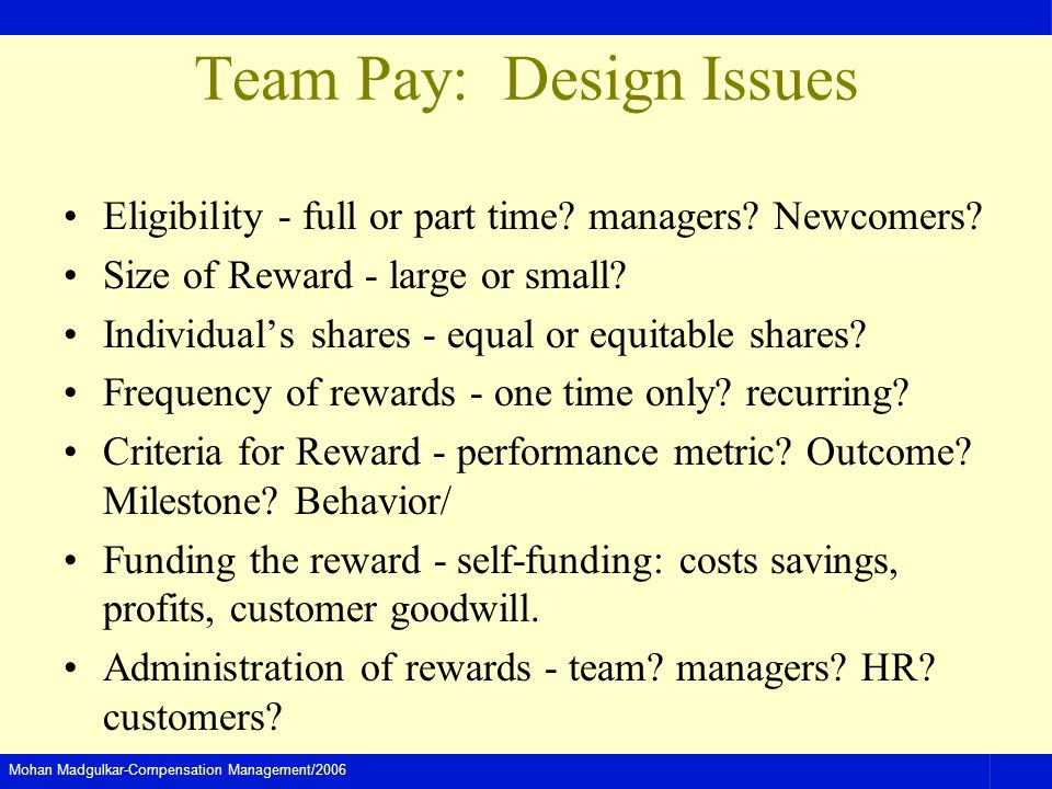 Team Pay: Design Issues