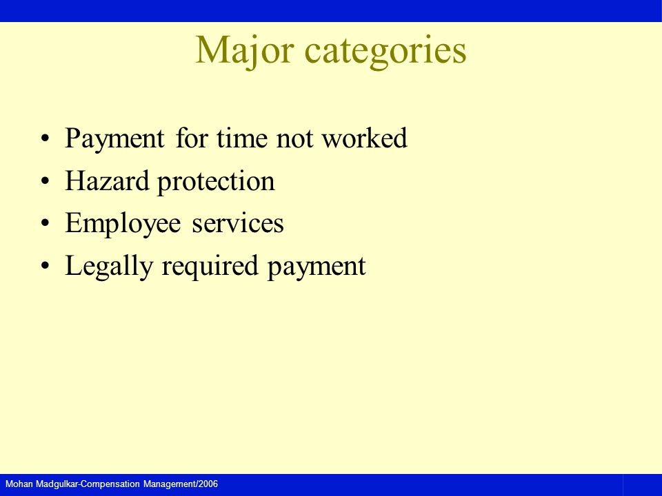 Major categories Payment for time not worked Hazard protection