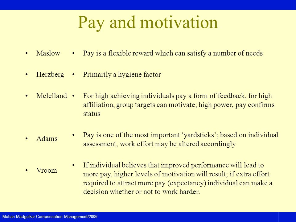 Pay and motivation Maslow Herzberg Mclelland Adams Vroom