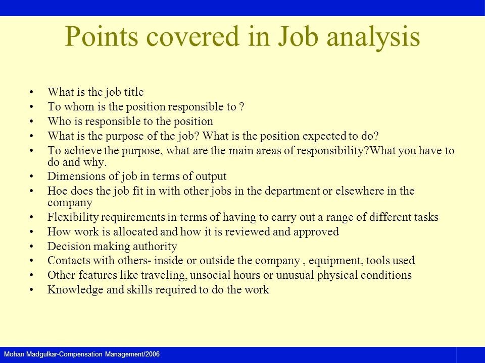 Points covered in Job analysis
