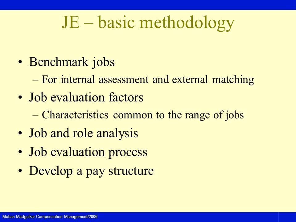 JE – basic methodology Benchmark jobs Job evaluation factors