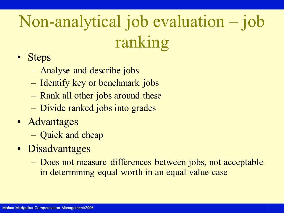 Non-analytical job evaluation – job ranking
