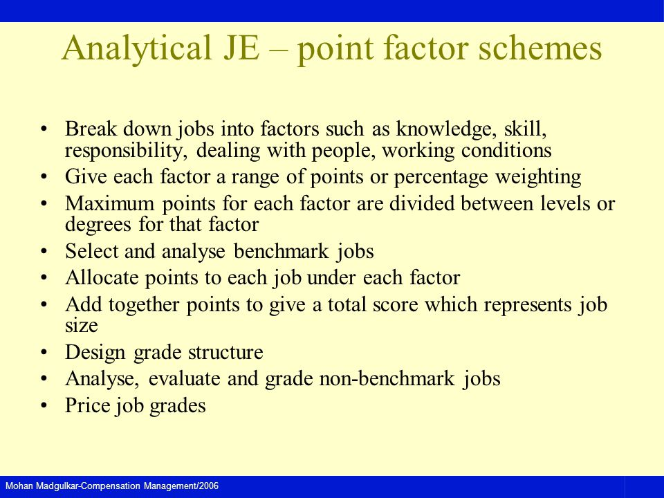 Analytical JE – point factor schemes