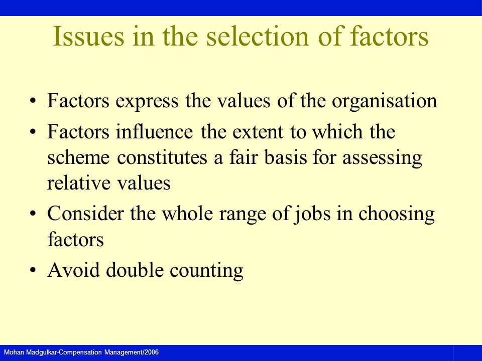 Issues in the selection of factors