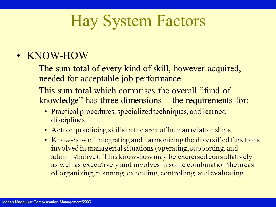 Hay System Factors KNOW-HOW