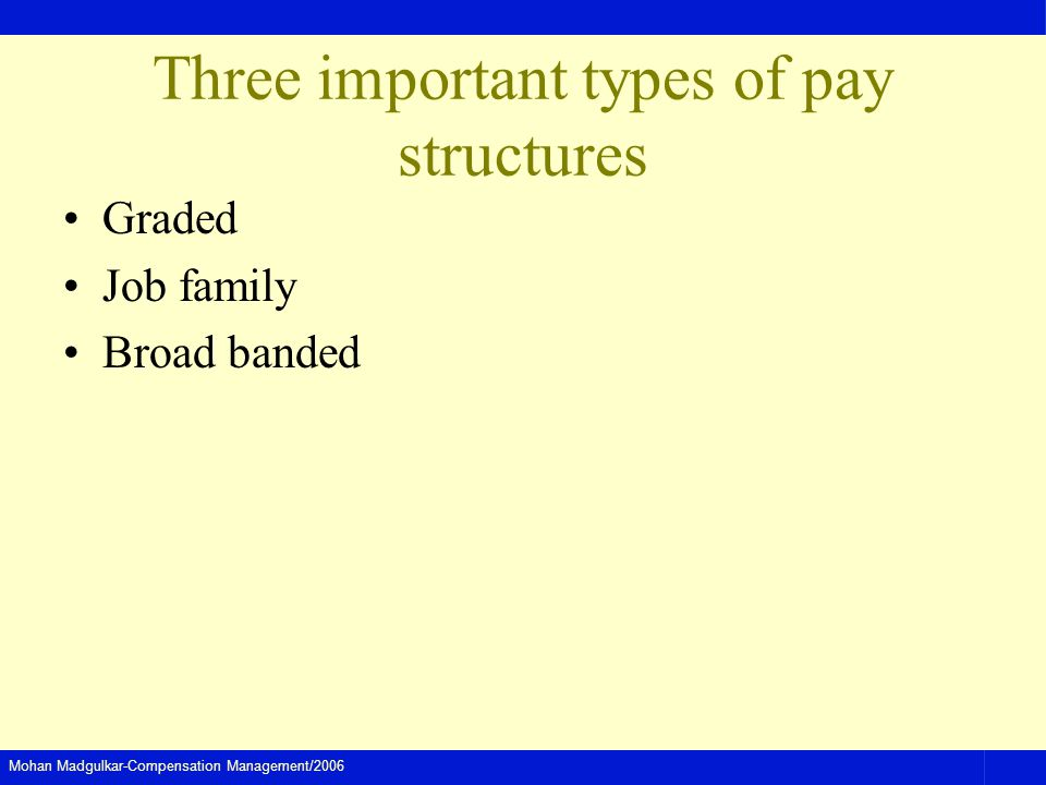 Three important types of pay structures