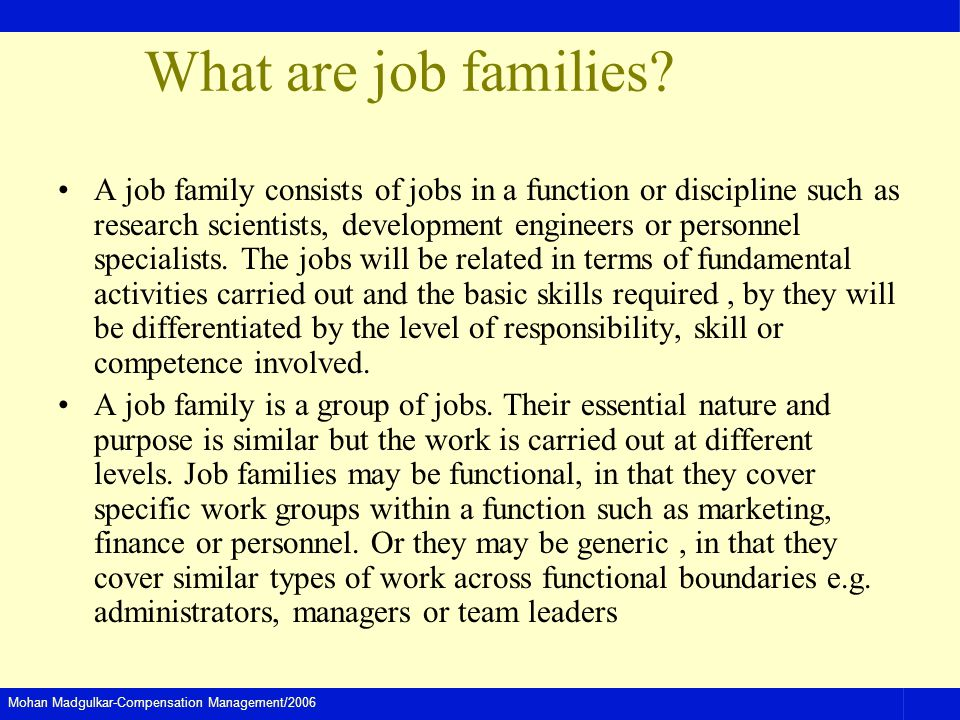 What are job families