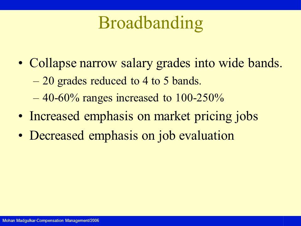 Broadbanding Collapse narrow salary grades into wide bands.