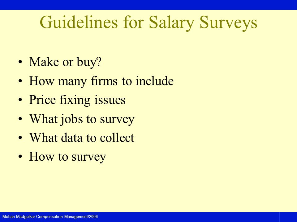 Guidelines for Salary Surveys