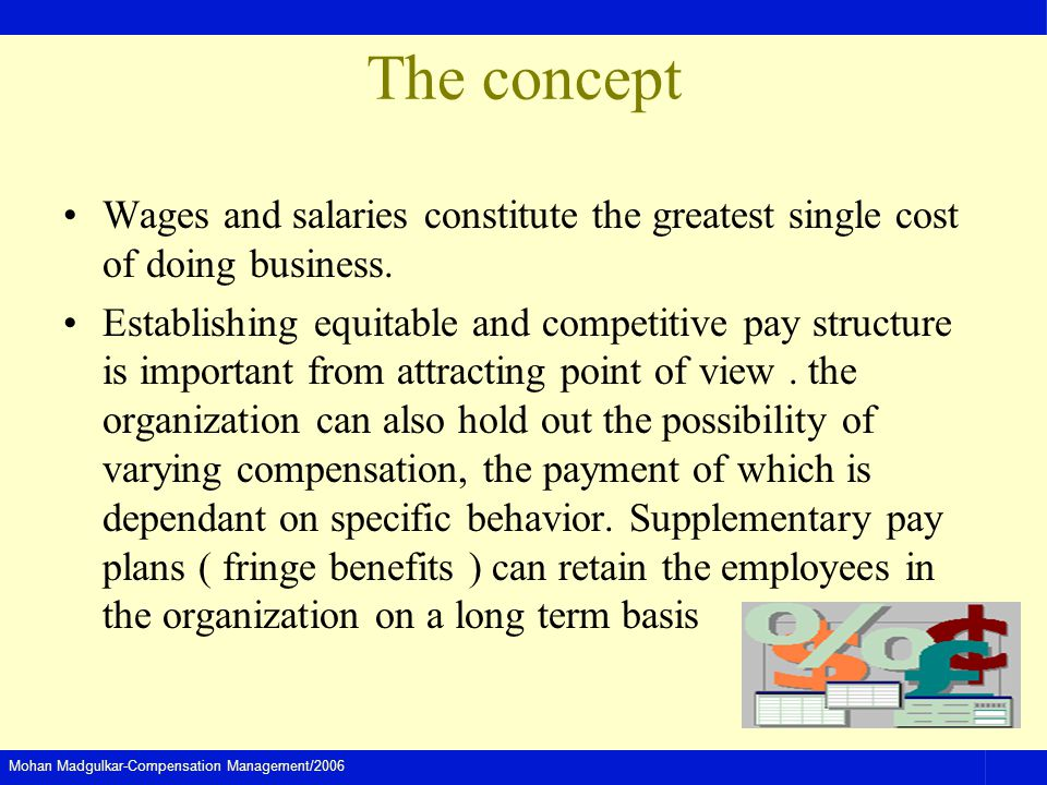The concept Wages and salaries constitute the greatest single cost of doing business.