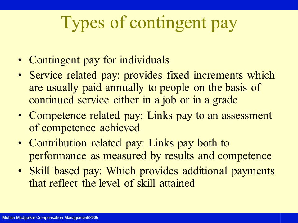 Types of contingent pay