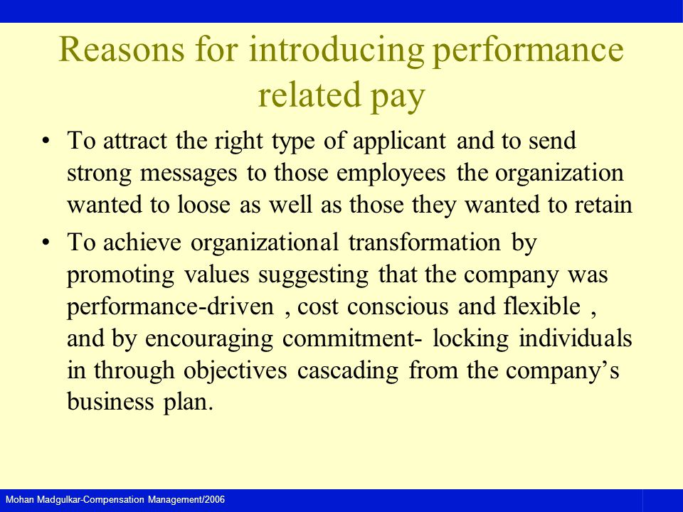 Reasons for introducing performance related pay