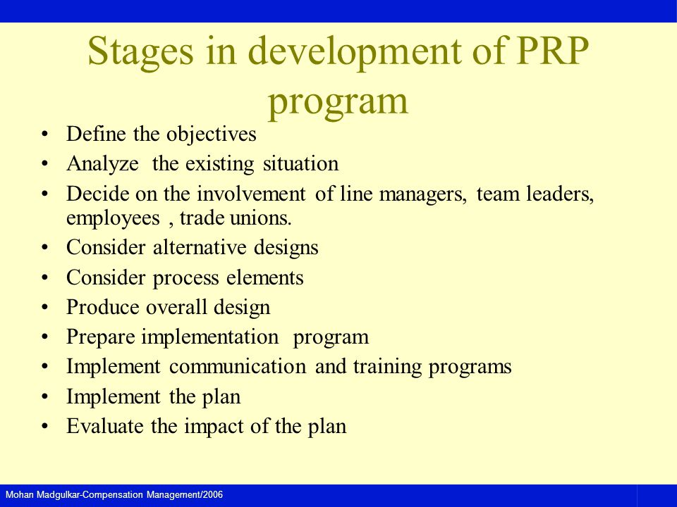 Stages in development of PRP program
