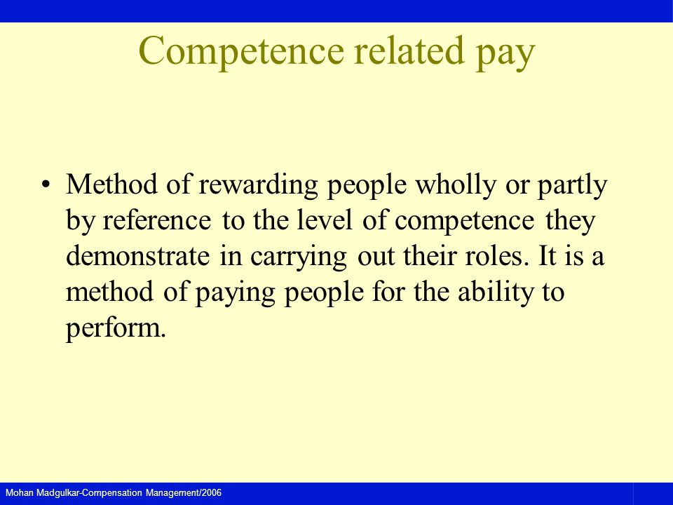 Competence related pay