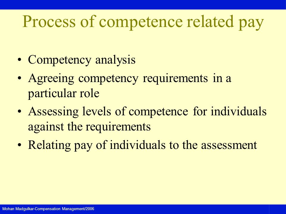 Process of competence related pay