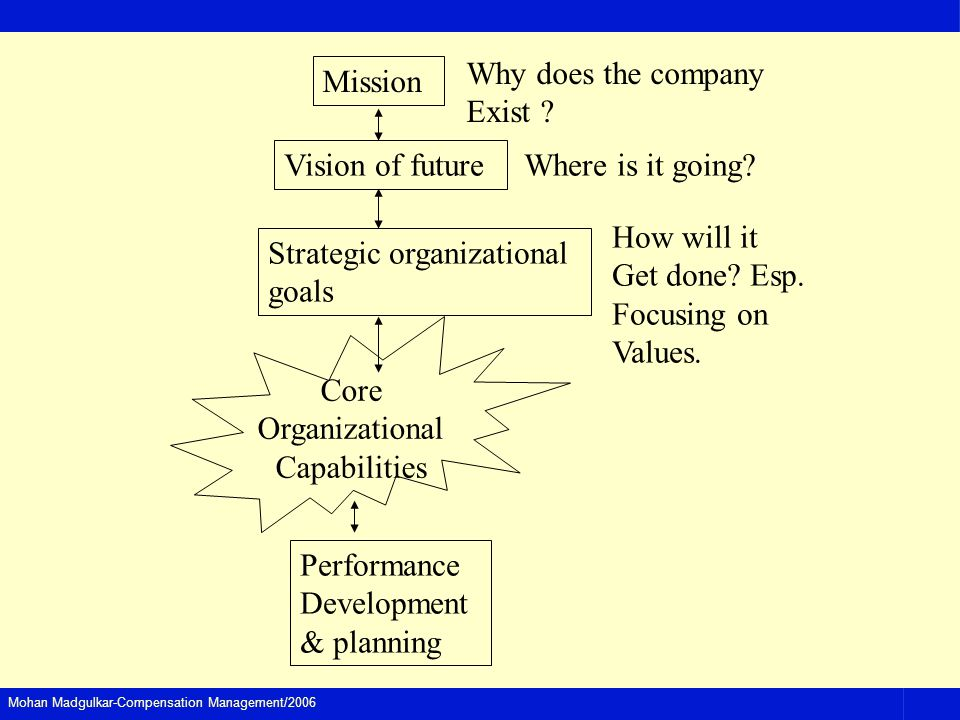 Why does the company Exist Mission. Vision of future. Where is it going How will it. Get done Esp.