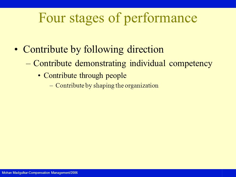 Four stages of performance